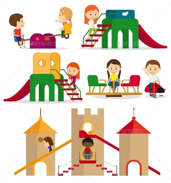 Children Playing on The Playground - People Characters