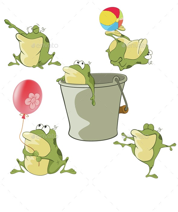Set of Cartoon Green Frogs  - Animals Characters