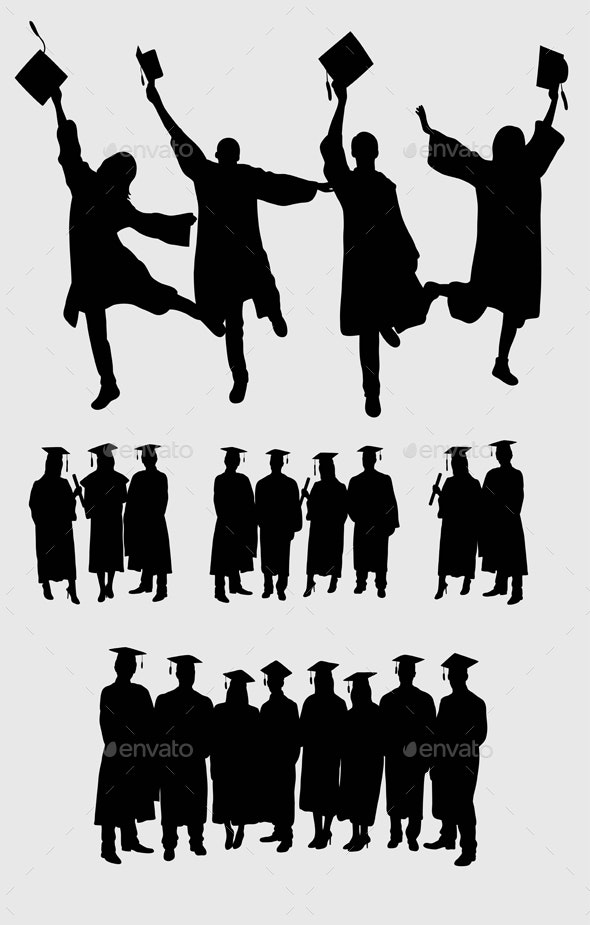 Graduation Silhouettes - People Characters
