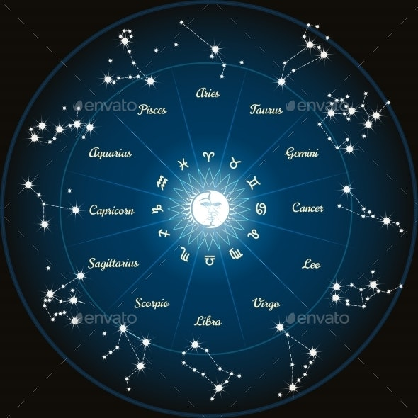 Circle with Zodiac Constellations - Miscellaneous Conceptual