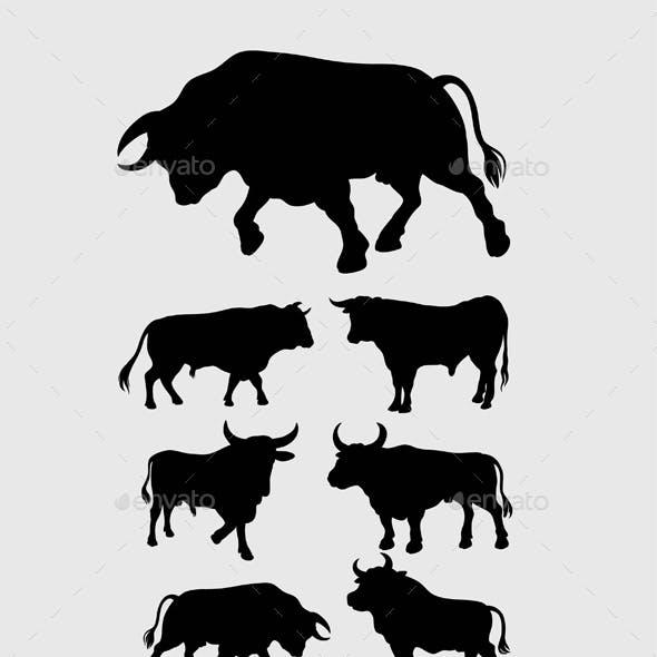 Bull, Lama and Penguin Silhouettes