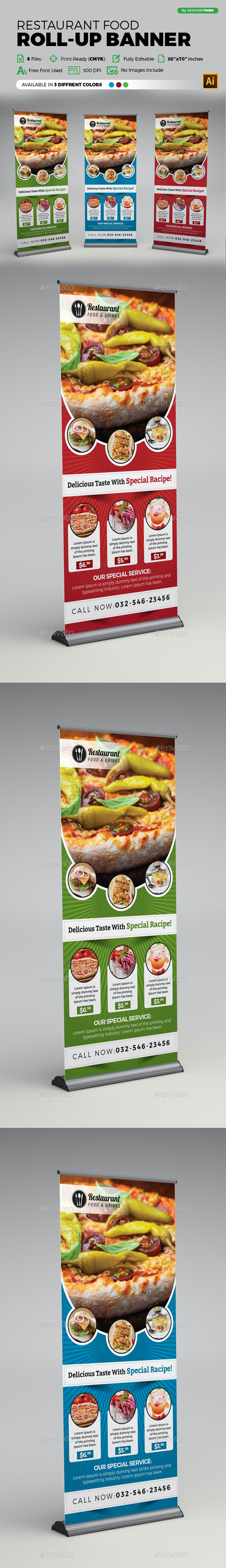 Restaurant Food Roll-up Banner - Signage Print Templates