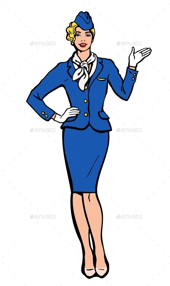 Stewardess in Blue Suit Indicates Information - Concepts Business