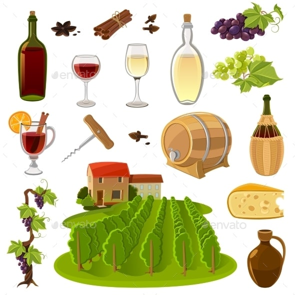 Wine Cartoon Icons Set - Abstract Conceptual