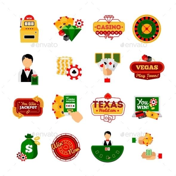 Casino Decorative Icon  Set - Miscellaneous Vectors