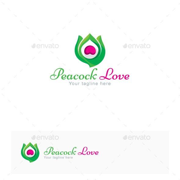 Peacock Love - Creative Bird Feather Stock Logo Template