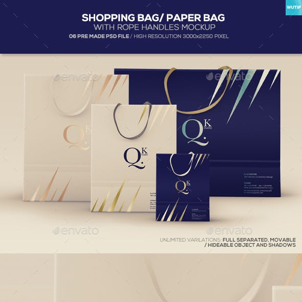 Shopping Bag/ Paper Bag With Rope Handles Mockups