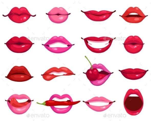 Lips Cartoon Set - Decorative Symbols Decorative