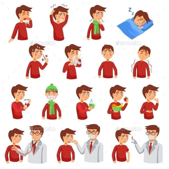 Flu IIlness Icon Set - Decorative Symbols Decorative