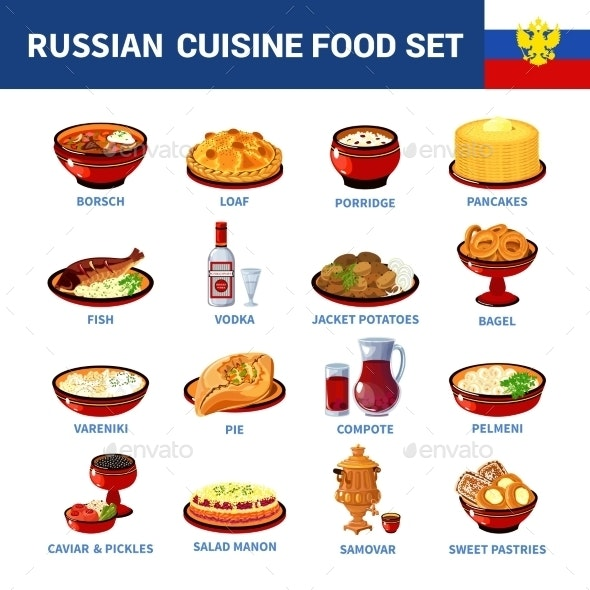 Russian Cuisine Dishes Flat Icons Collection  - Food Objects
