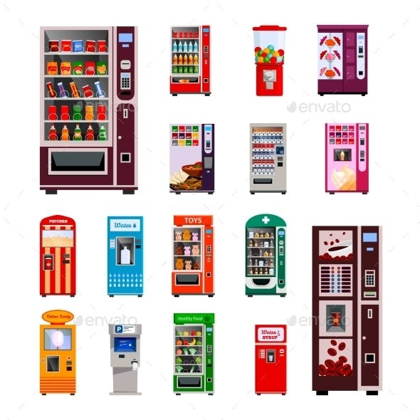 Vending Machines Icons Set