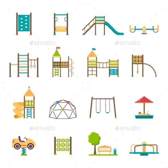 Playground Flat Icons Set - Sports/Activity Conceptual