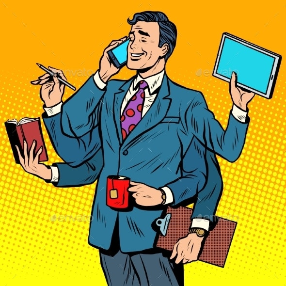 Business Successful Businessman Multitasking - People Characters