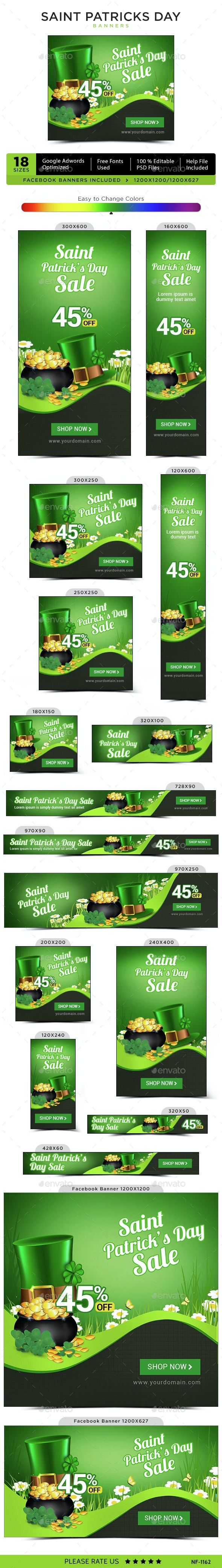 Saint Patricks Day Banners - Banners & Ads Web Elements