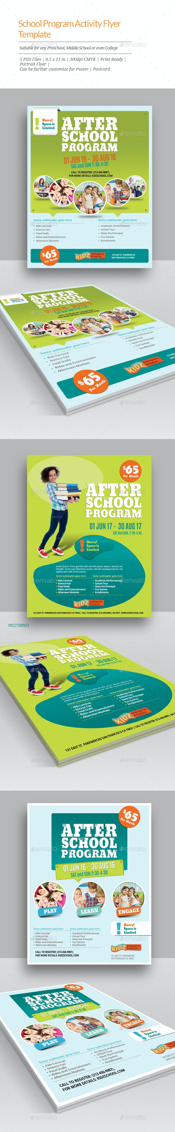 school program activity flyer templates by geon graphicriver