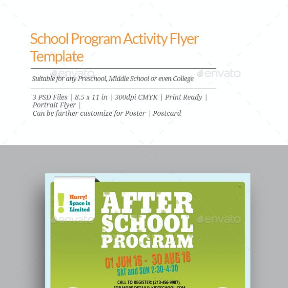 School Program Activity Flyer Templates