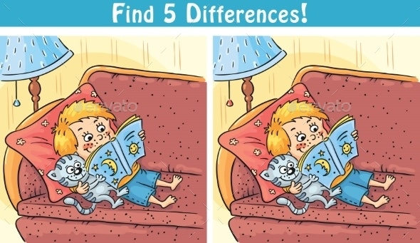 Find Differences Game With a Cartoon Boy  - People Characters
