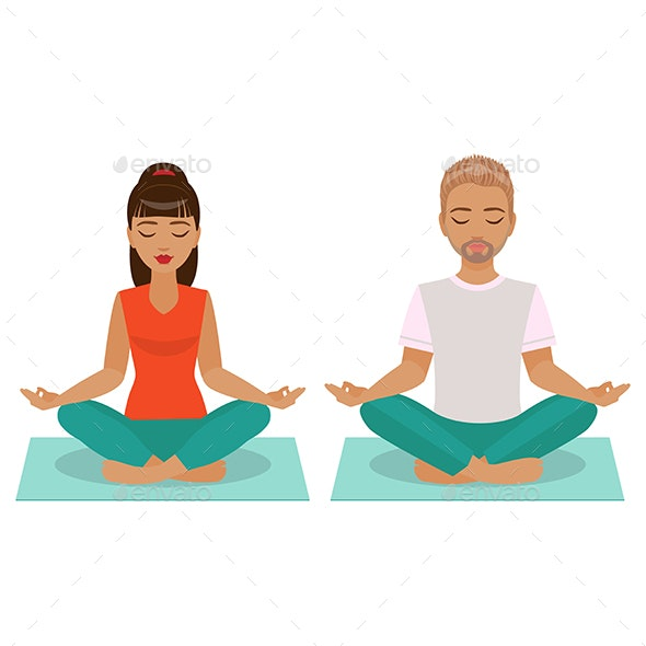 Young Man and Woman Doing Yoga - People Characters