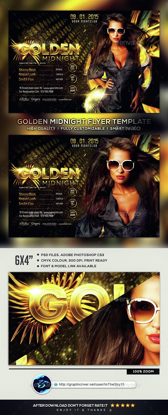 Golden Midnight Flyer Template - Flyers Print Templates