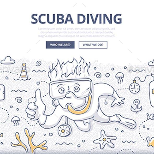 Scuba Diving Doodle Concept