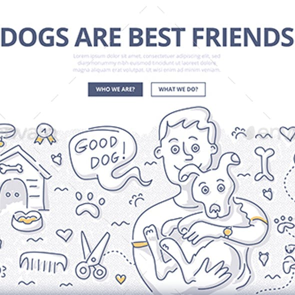Dogs Care Doodle Concept