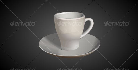 3D Cup & Saucer - Man-made Objects Objects