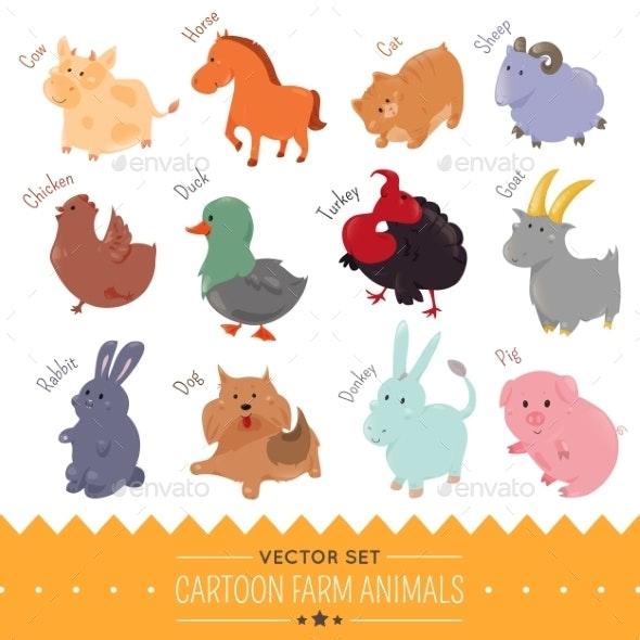 Set of Cartoon Farm Animal Icons - Animals Characters