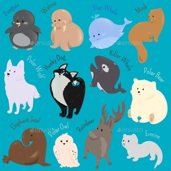 Set of Cartoon Winter North Animal Icons - Animals Characters