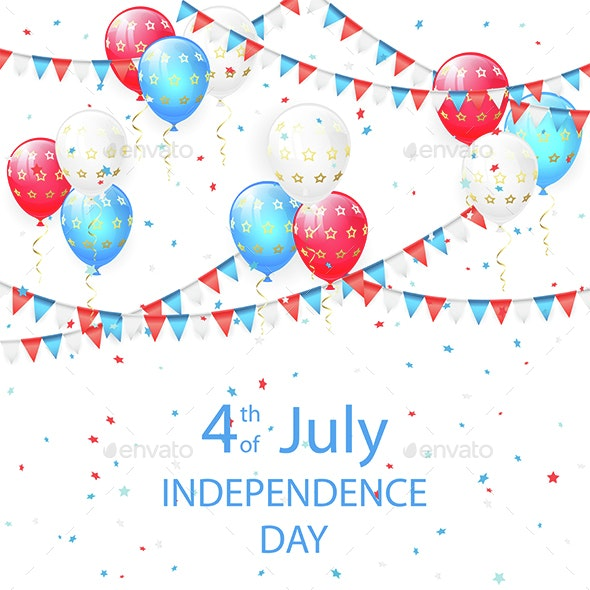 Balloons with Stars in Independence Day Background - Miscellaneous Seasons/Holidays