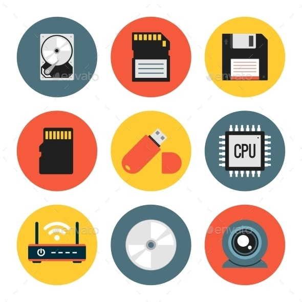 Digital Data Vector Flat Icons - Technology Icons