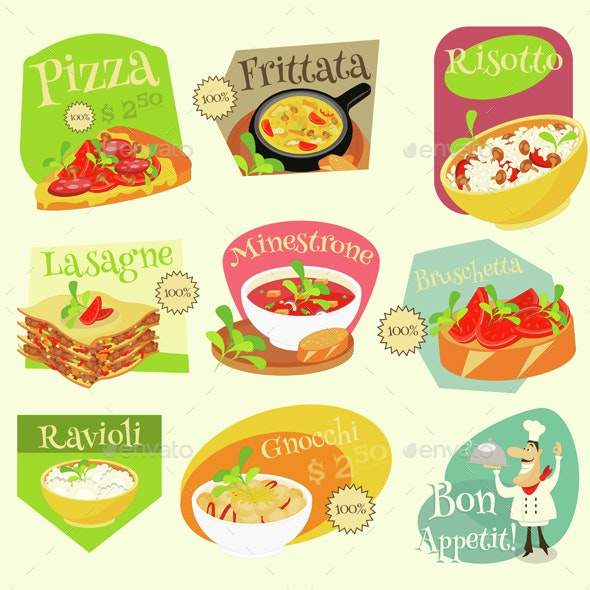 Italian Food Labels Set - Food Objects
