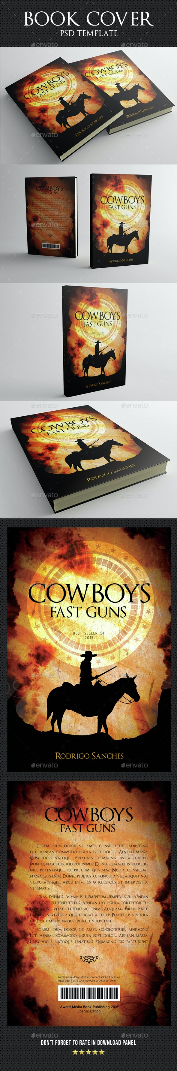Cowboys Fast Guns Book Cover Template - Miscellaneous Print Templates