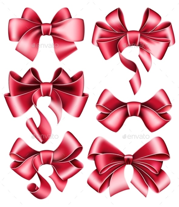 Six Red Bows - Decorative Symbols Decorative