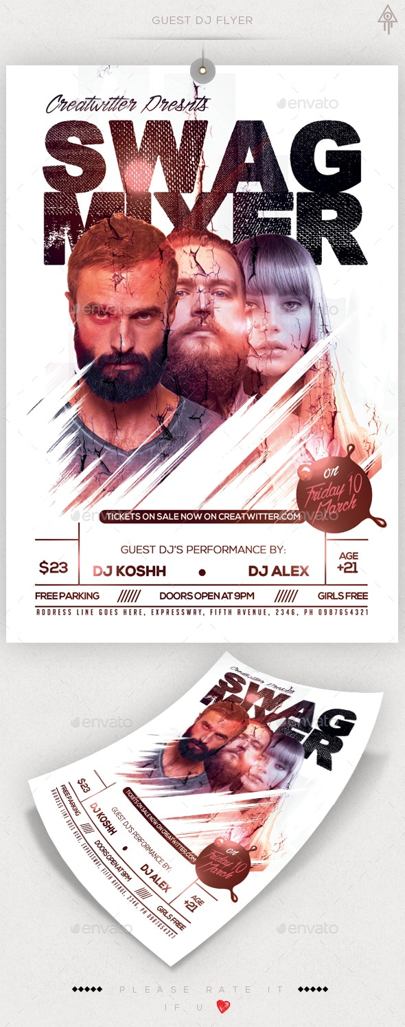 Guest DJ Poster/Flyer Template - Clubs & Parties Events