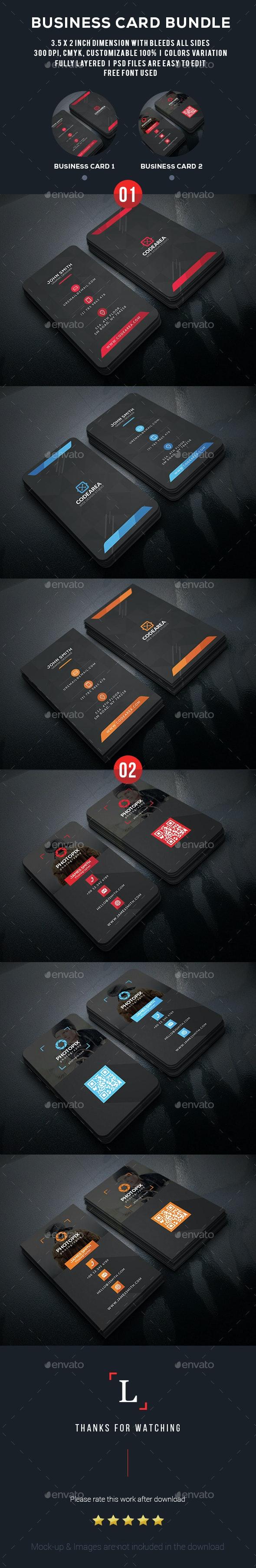 Black Business Card Bundle - Business Cards Print Templates