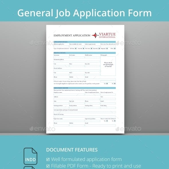 General Job Application PDF Form