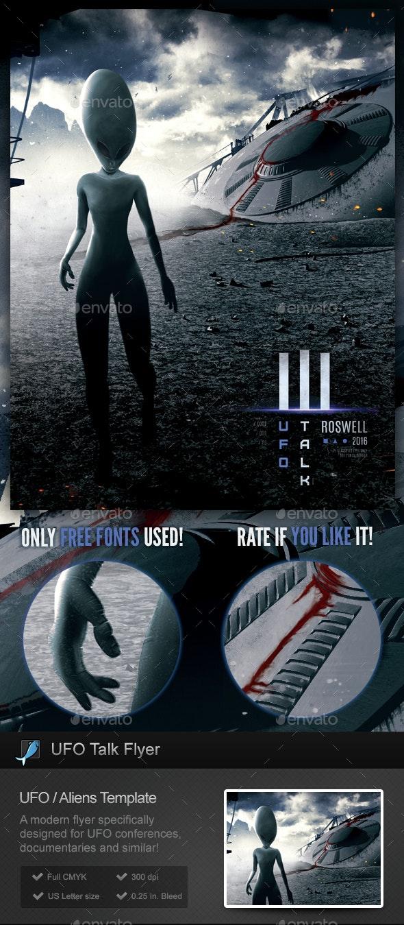 UFO Talk - Aliens, Extraterrestrial, Ufology Flyer / Poster - Miscellaneous Events