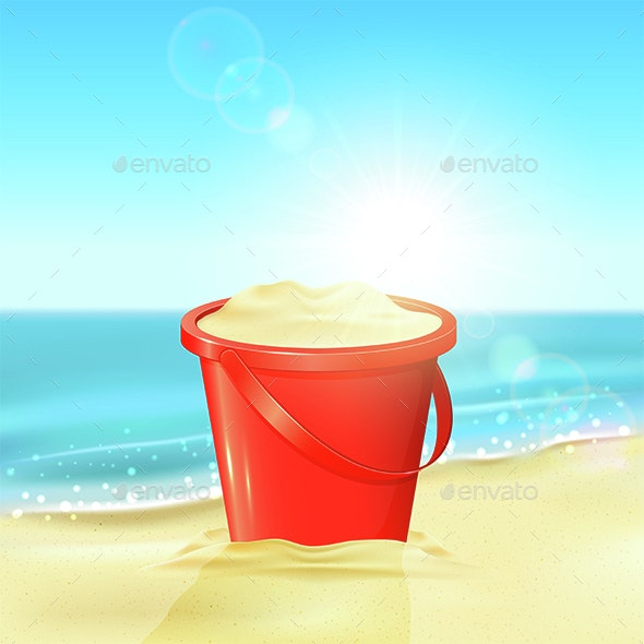 Bucket of Sand on Beach - Man-made Objects Objects