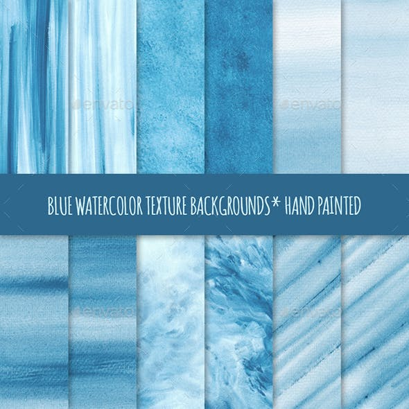 12 Blue Watercolor Texture Backgrounds
