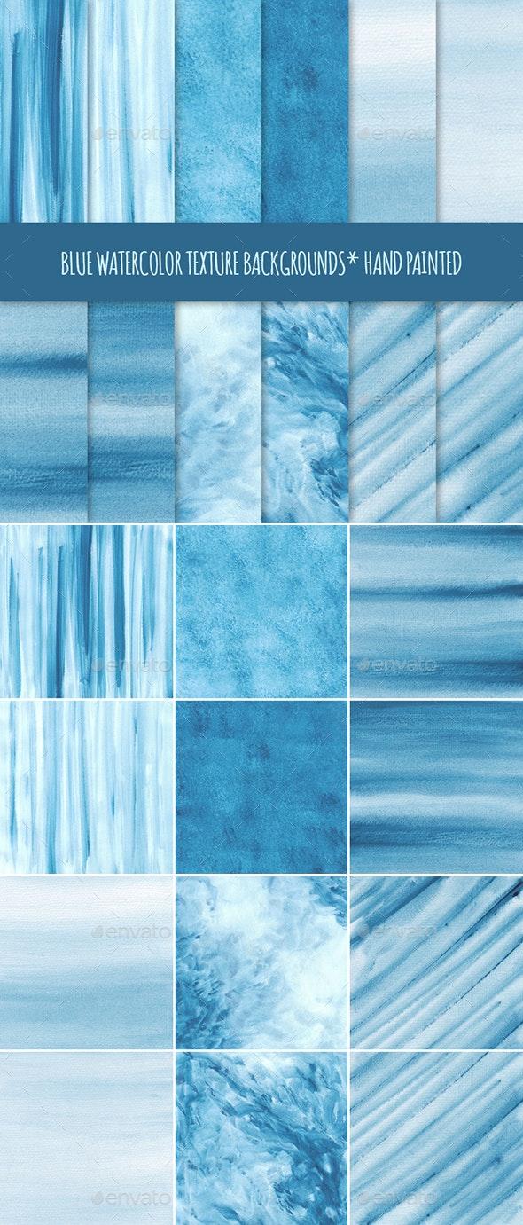 12 Blue Watercolor Texture Backgrounds - Textures