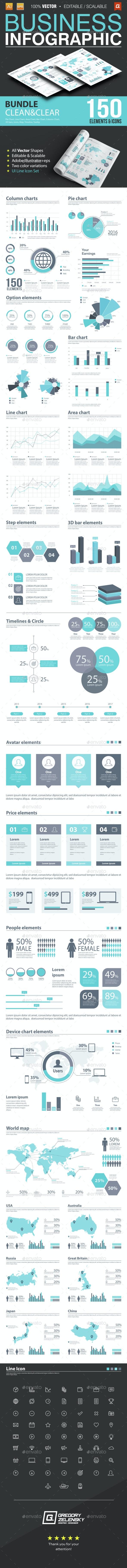 Business Infographic Bundle 150 Elements - Infographics