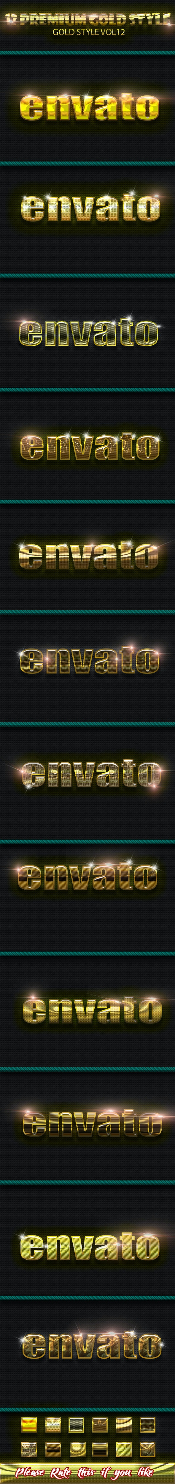 12 Photoshop GOLD Text Effect Styles Vol 12 - Text Effects Styles
