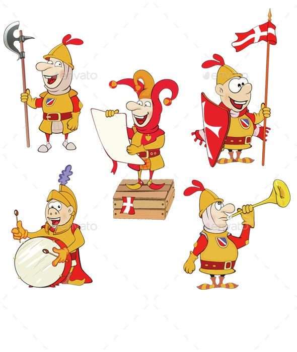 Set of Cartoon Knights - People Characters