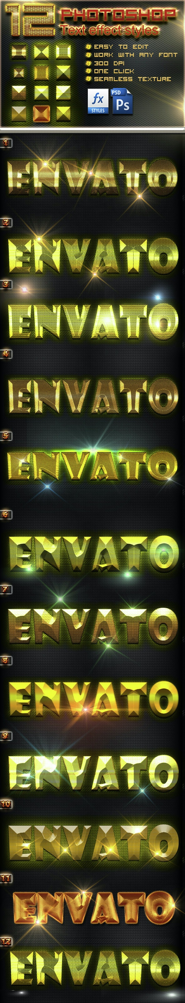12 Photoshop GOLD Text Effect Styles Vol 13 - Text Effects Styles
