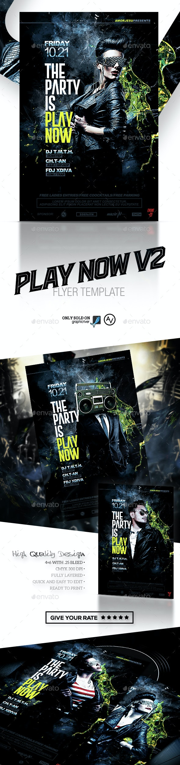 Play Now Flyer Template V2 - Clubs & Parties Events