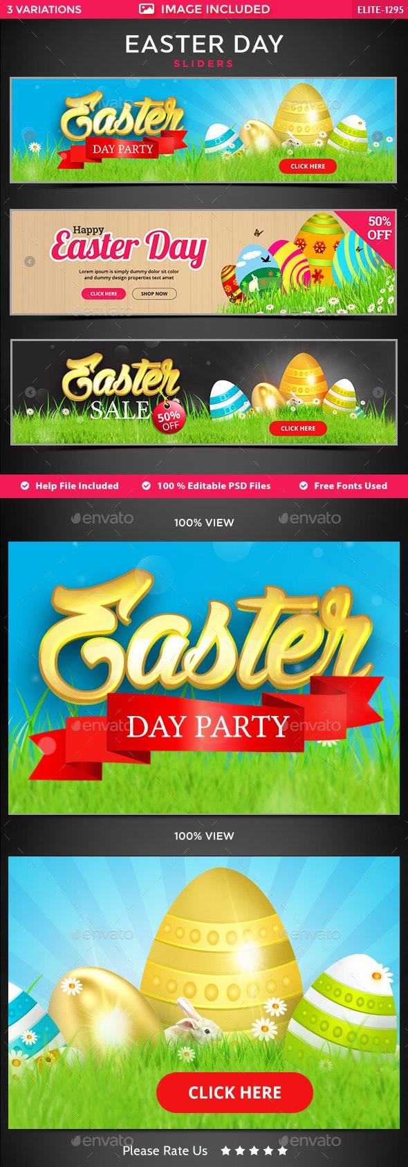 Easter Sale Sliders - 3 Designs - Sliders & Features Web Elements