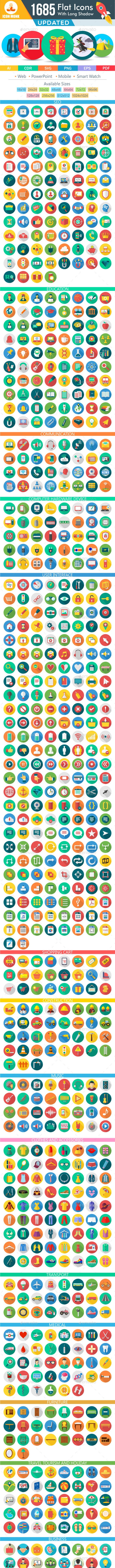 1370 New Flat Icons - Icons