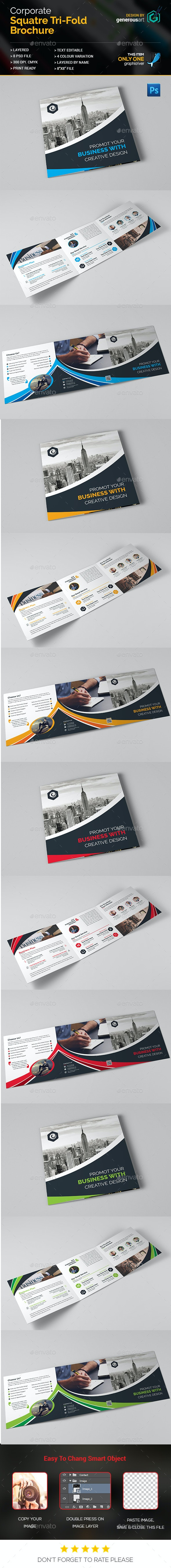 Square Tri-Fold Brochure - Corporate Brochures