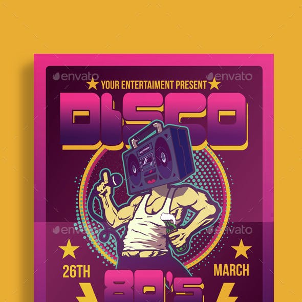 Disco 80's Party Flyer