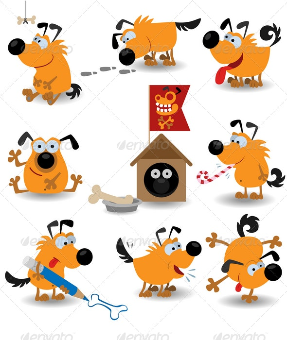 Funny yellow dogs - Animals Characters